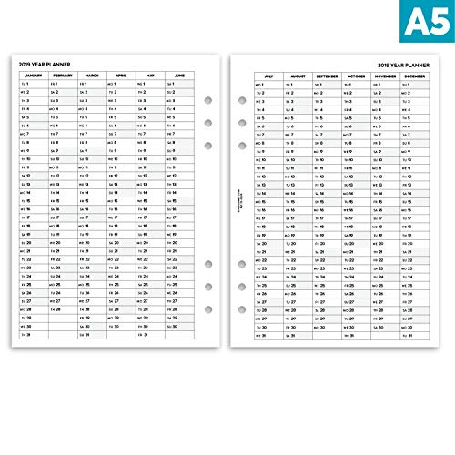 Nbplanner/® 2019/settimana su due pagine planner con dot Grid notes Basic Collection English organiser refill A5/size
