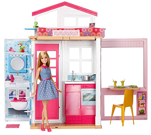 Barbie- Casa Componibile con 2 Piani e Tanti Accessori