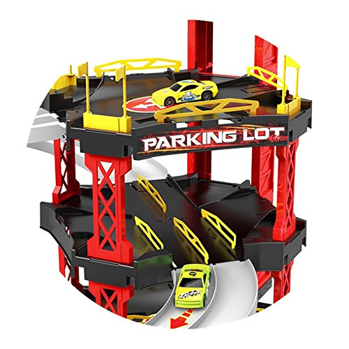 JIEHED Car Toys Large Parking Lot Garage Playset Helicopter Education for Children Kids