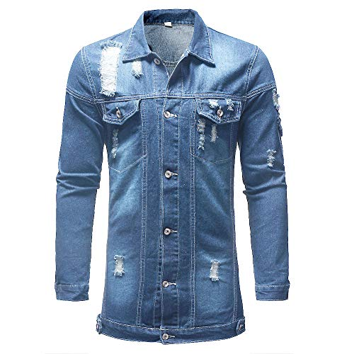 giacca in jeans lunga uomo